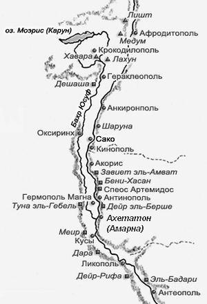 Карта Нила в районе Ахетатона (Амарны)