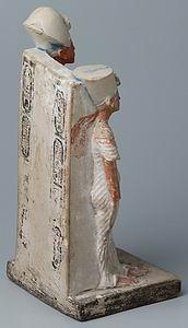 Эхнатон и Нефертити, статуэтка из Лувра (E15593, вид сзади)