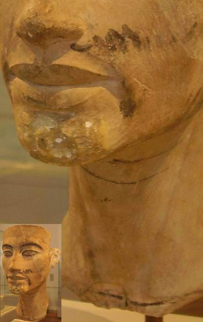 Лицо Эхнатона с метками Тутмоса