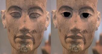 Слепая и зрячая голова незаконченной Нефертити (Эхнатона)